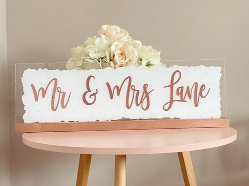 Personalised top table acrylic sign