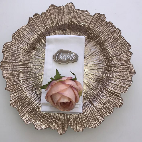 100 x Champagne Gold Leaf Charger Plate