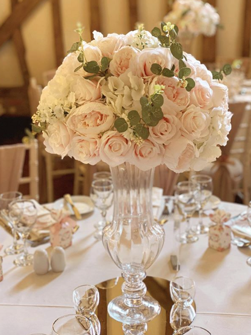 Hire of silk flower balls table centre pieces