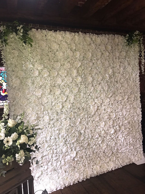Collection of our White 'Maisy' Flower Wall for hire
