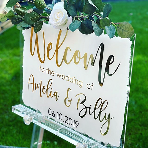 Wedding Sign clear Acrylic with coloured back