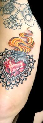 Sacred heart ornamental gem heart tattoo