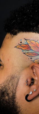 Neo traditional branch head tattoo