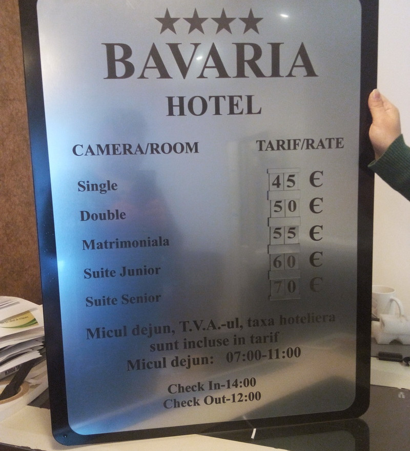 engraved hotel pricelist with foam board
