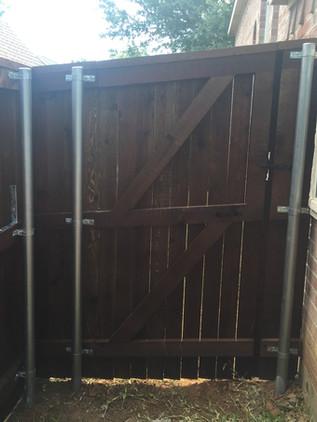 Dark Brown, 6 Ft Side By Side Cedar Fence with Topcap & Trim, Walk Gate