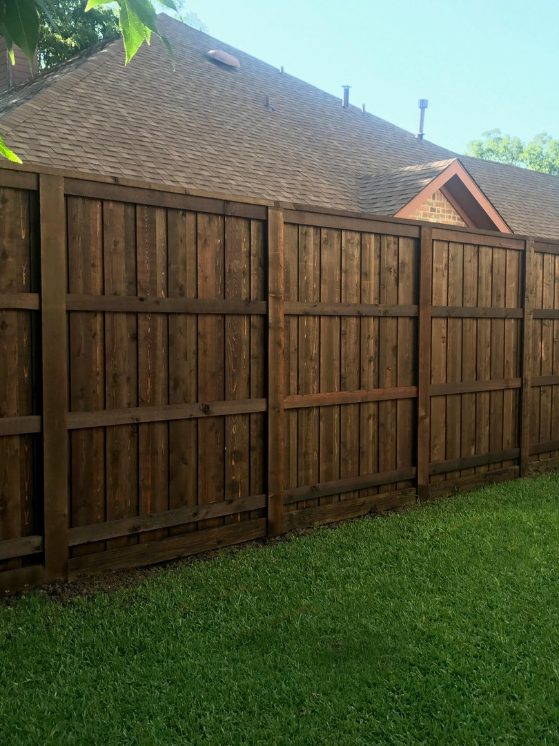Dark Brown, 8 Ft Board on Board Cedar Fence with Topcap, Trim, Rotboard & PostMasters