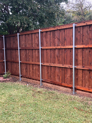 Dark Brown, 8 Ft Board on Board Cedar Fence with Rotboard