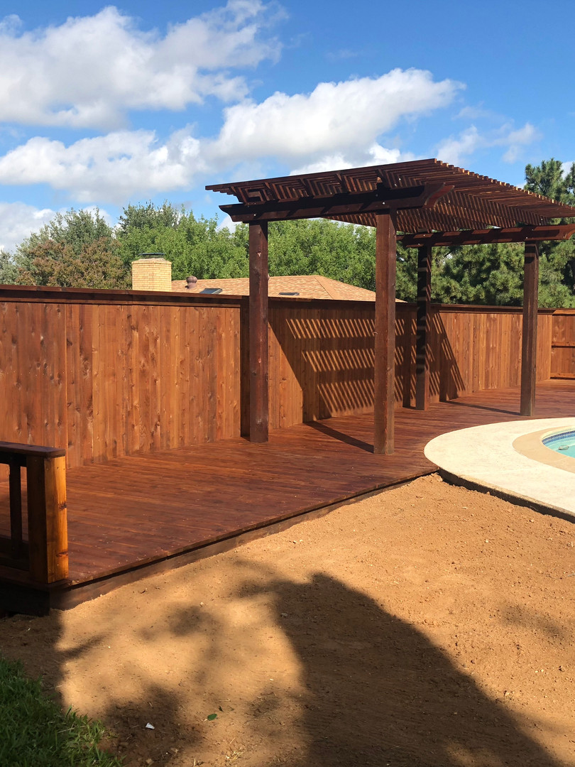 Dark Brown Cedar Deck & Pergola