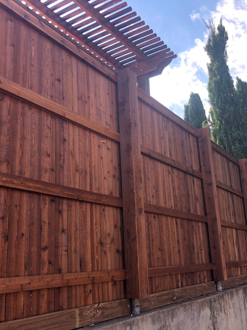 Dark Brown, 8 Ft Cedar Side by Side Fence with Topcap, Trim, Rot Board & Box Outs