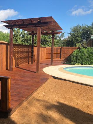 Dark Brown Cedar Deck & Pergola
