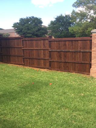 Dark Brown, 8 Ft Board on Board Cedar Fence with Topcap, Trim, Rotboard & 6x6 Cedar Post