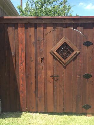 Dark Brown, 8 Ft Board on Board, Custom Arched Walk Gate with Header, Topcap & Trim