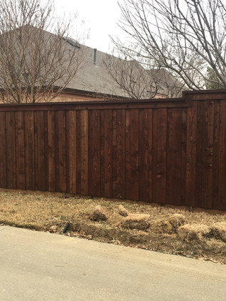 Dark Brown, 6 Ft Board on Board Fence with Topcap, Trim, Rotboard