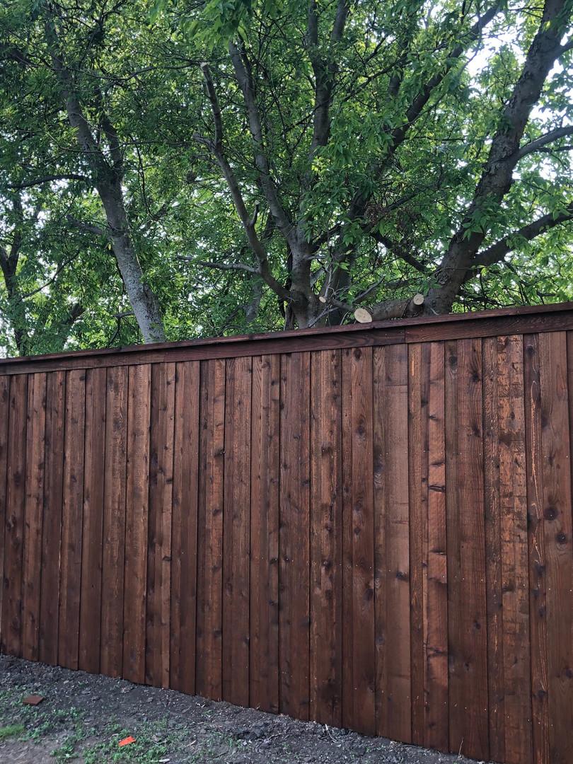 Dark Brown, 8 Ft Board on Board Cedar Fence with Topcap & Trim