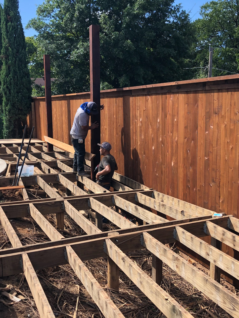Construction of Dark Brown Cedar Deck & Pergola