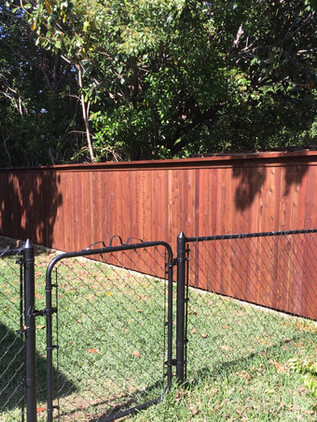 Medium Brown, 6 Ft Side by Side Cedar Fence with Topcap & Trim. 4 Ft Black Chainlink