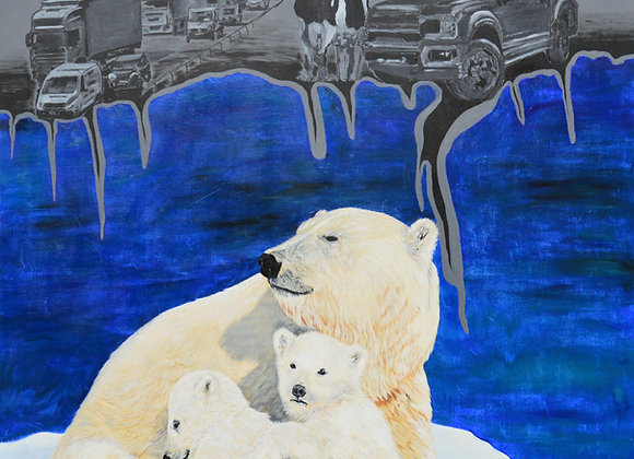 Polar bear against global warming