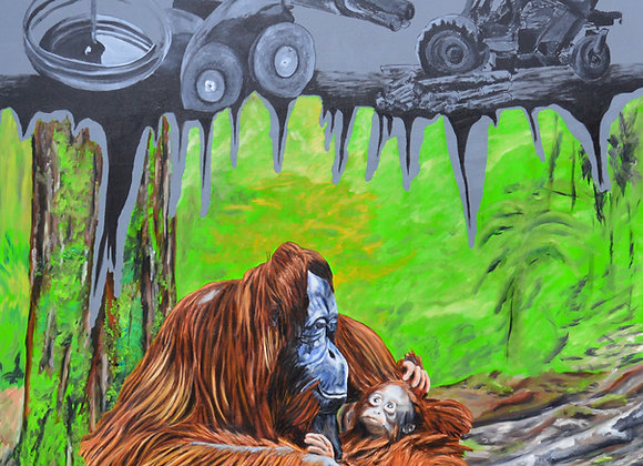 Orangutan against deforestation