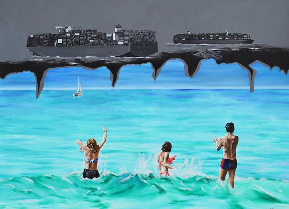Beach fun versus container ships