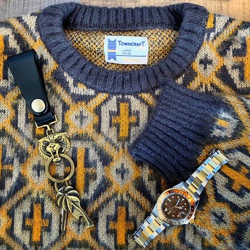 TOWNCRAFT 70'Sジャガードクルーネックセーター