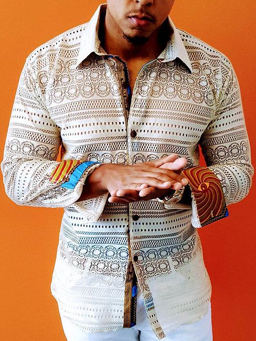 Beige Lace Long Sleeve Shirt