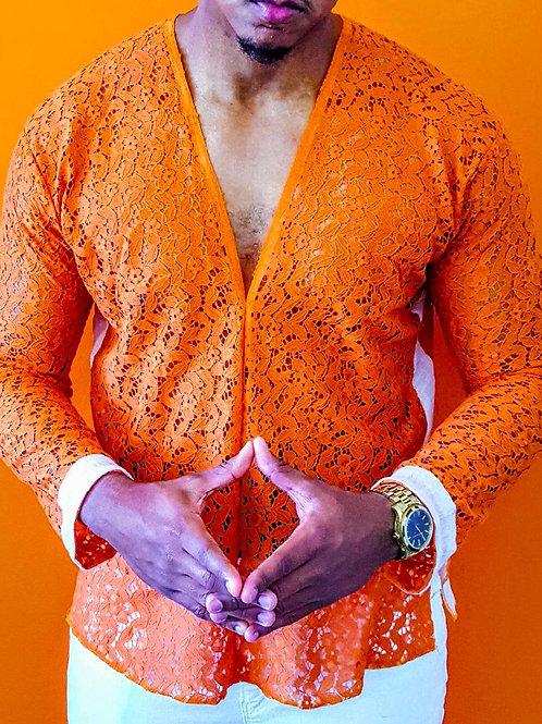 Orange Lace V-Neck
