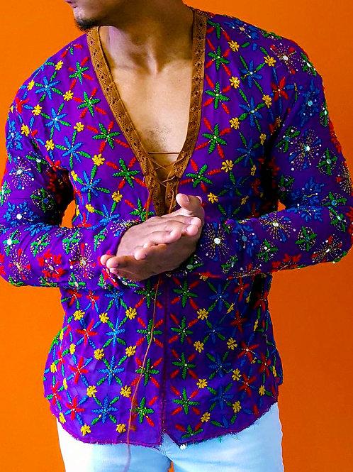 Purple Embroidered Floral V-Neck