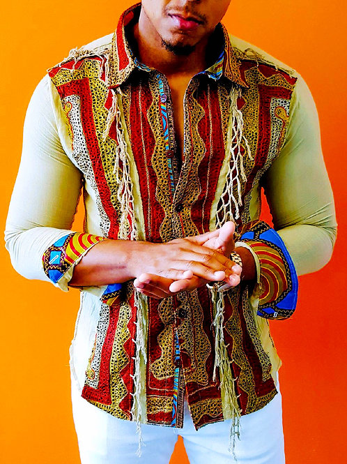 Tribal Textured Long Sleeve Shirt