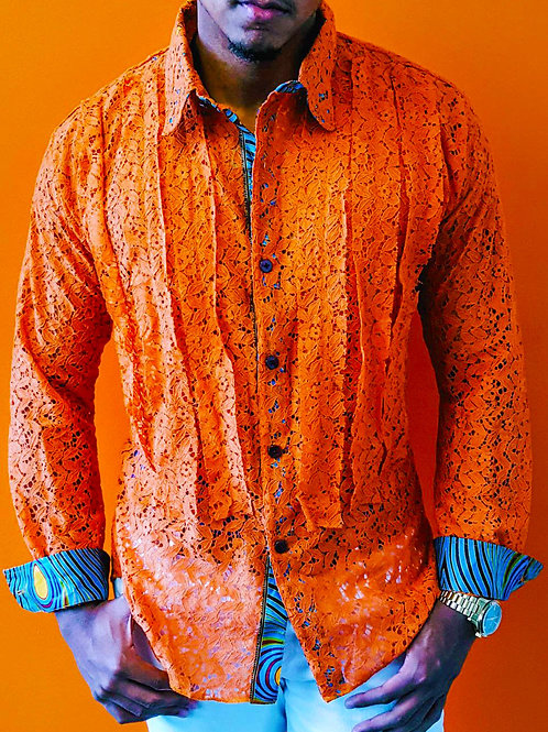 Orange Lace Ruffle Front Long Sleeve Shirt