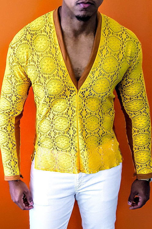 Yellow Stretch Lace V-Neck