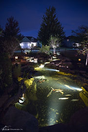 A pond is a great waterscape option to give you a unqiue relaxating and entertaining element to your landscaping in Omaha.