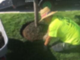 Outdoor job installing mulch in Omaha, NE
