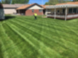 Jason finishing lawn mowing service at Lloyd's in Lincoln, NE