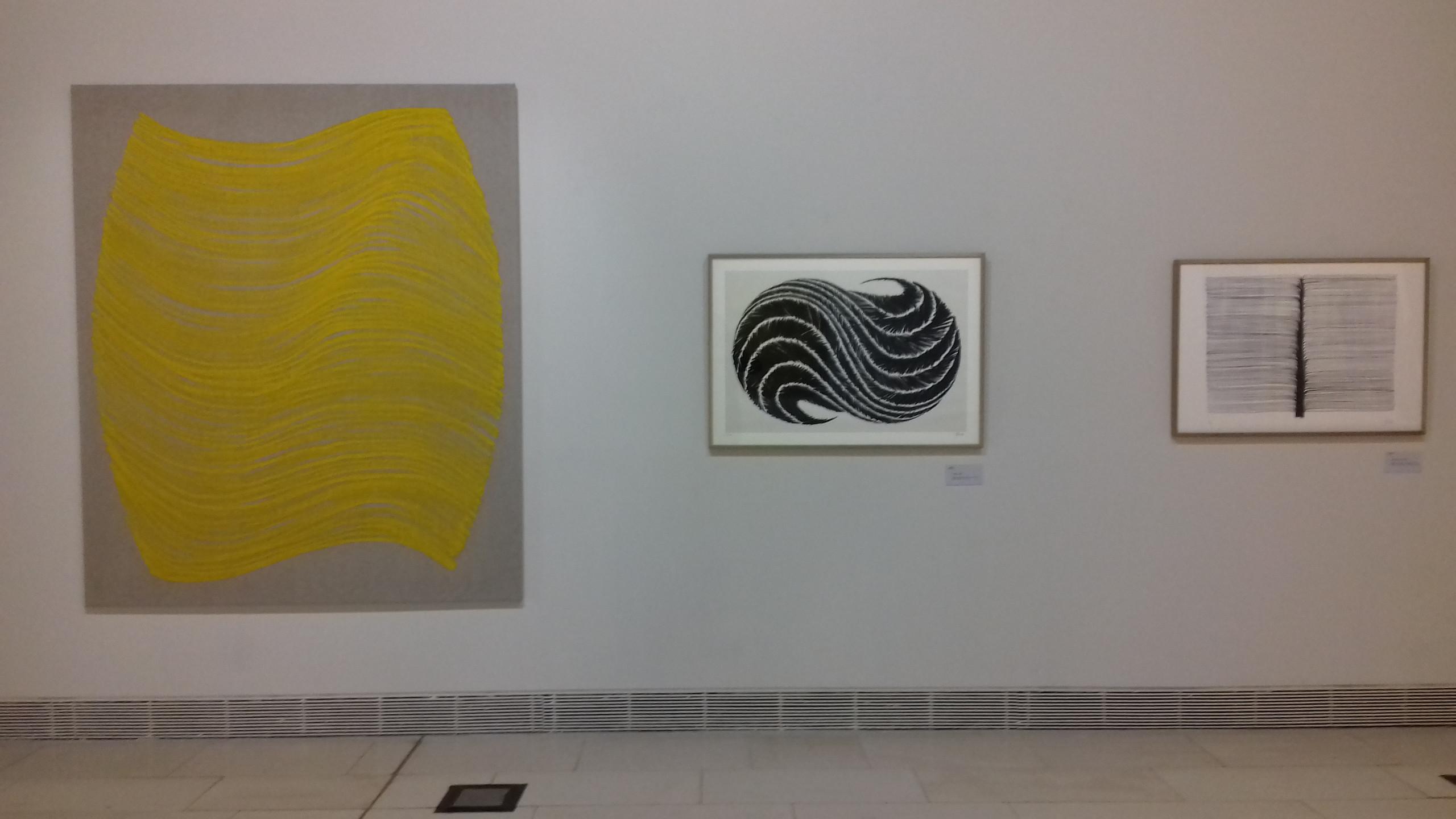 Peinture Egyptienne (2004), sérigraphie Souira (1999) et lithographie Arborescence (2004)