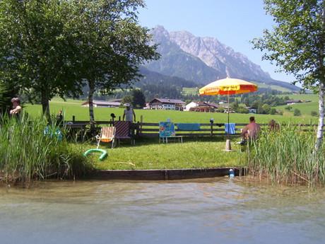 Privater Badestrand am Walchsee in wenigen Minuten zu Fuß erreichbar