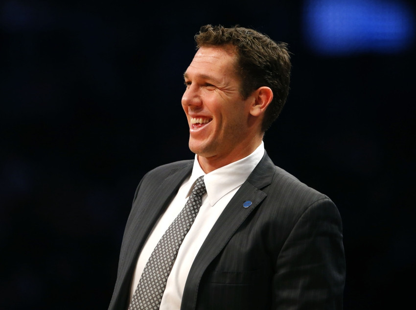 Dec 6, 2015; Brooklyn, NY, USA; Golden State Warriors interim head coach Luke Walton during the first half against the Brooklyn Nets at Barclays Center. Mandatory Credit: Noah K. Murray-USA TODAY Sports