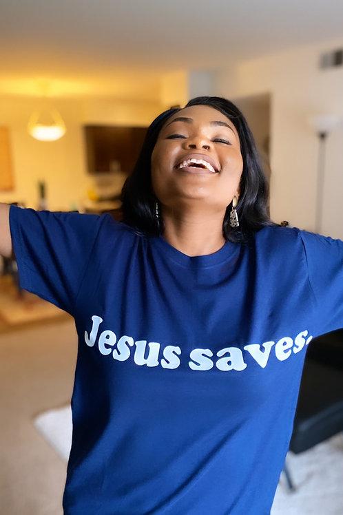 "Navy blue ""Jesus saves."" T-shirt"