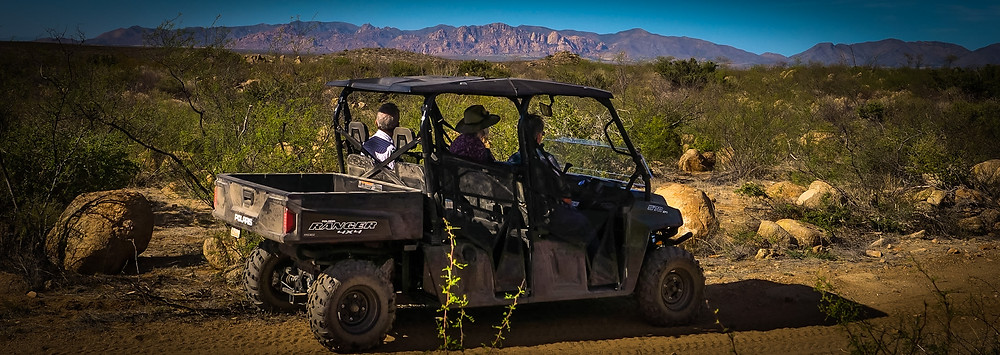 People riding in a UTV with the Dragoon Mountains in the background