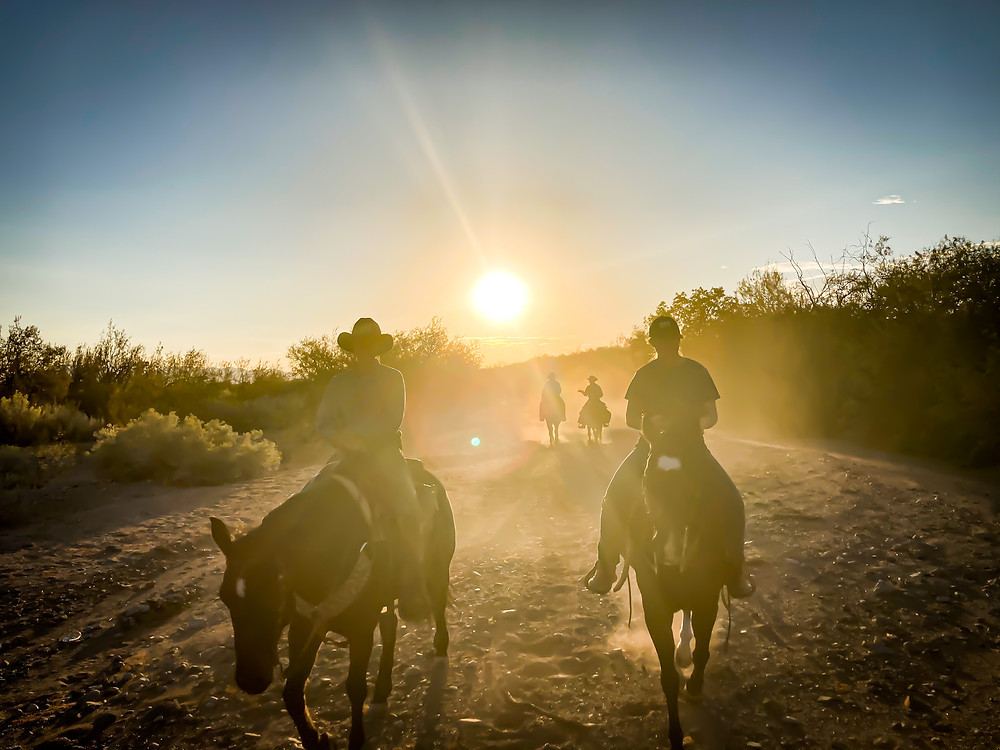 People riding horses at sunset at Tombstone Monument Ranch