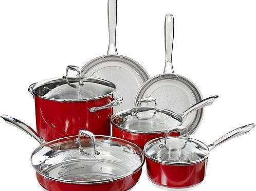 KitchenAid Bateria de Cocina 10 piezas Acero inoxidable
