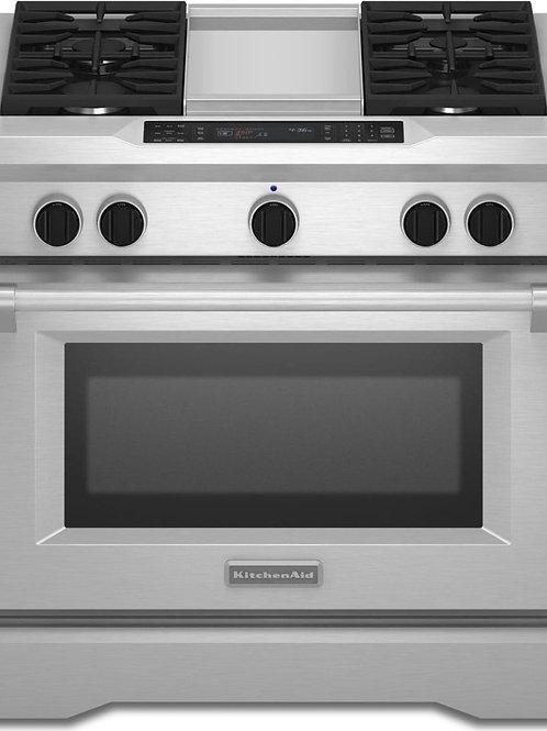 KitchenAid Estufa doble combustion estilo comercial con plancha de 36in