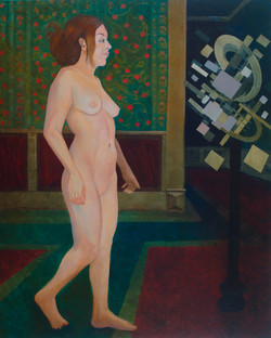 Nude with a supprematist explosion