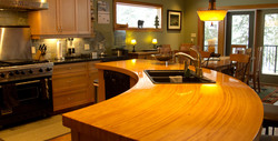 Custom curved timber counter top