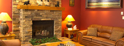 Great Room with rock fireplace