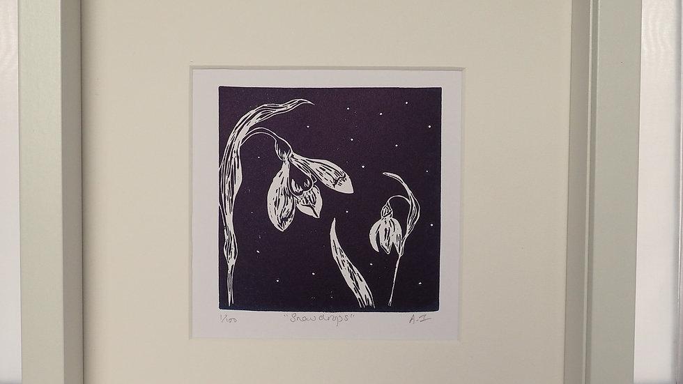 Snowdrops Lino Print