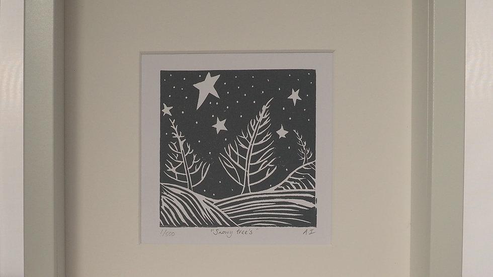 Snowy Tree's Lino Print
