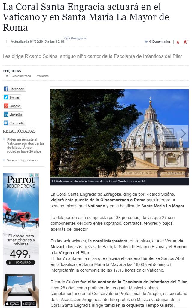 Heraldo de Aragón. Mar 2015