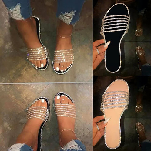 Crystal slides beige or black