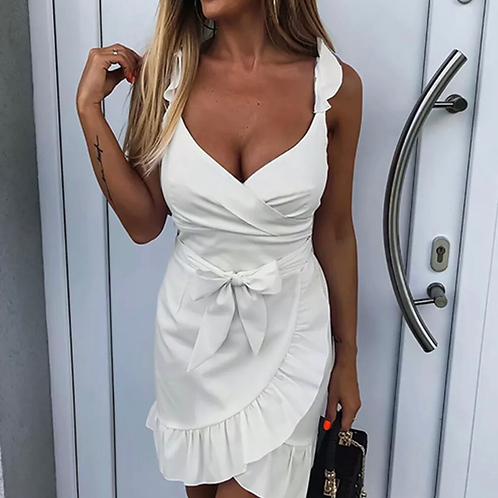 Ruffle bow mini dress