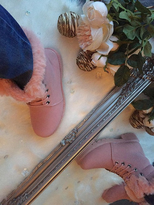 Pink Fur Military Boots